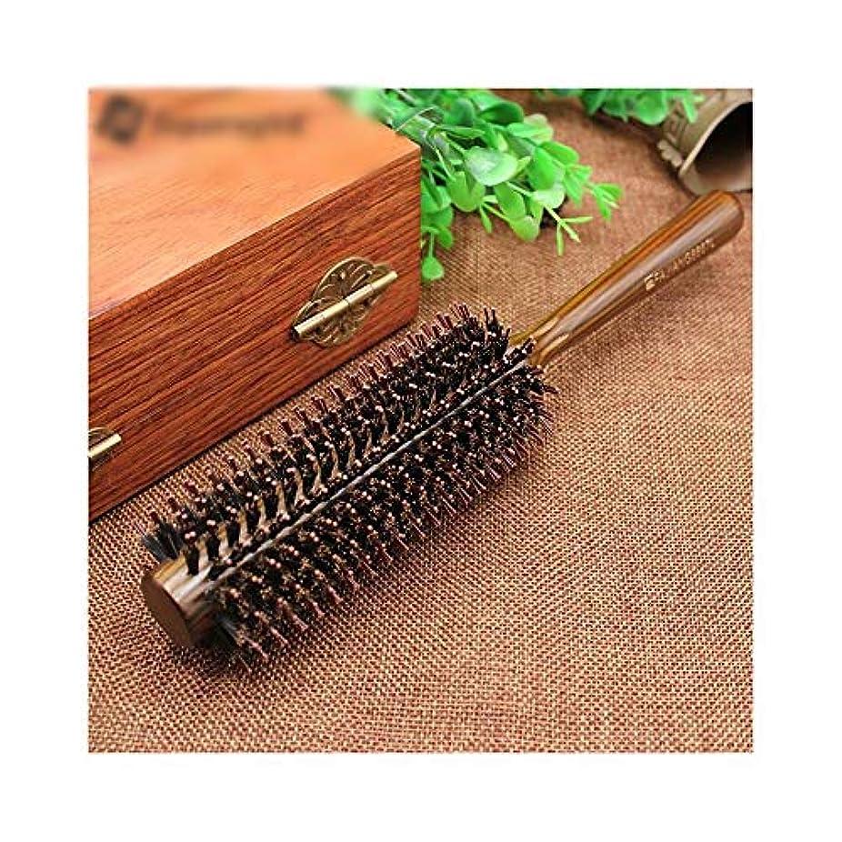 散らす甲虫ブッシュヘアーサロンのヘアデザインのためFashianローリングくしシリンダー木製ハンドルくし ヘアケア (サイズ : L)