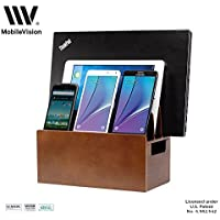 MobileVision Wood Universal Multi Device Organizer Stand and Charging Station for Smartphones Tablets and Laptops [並行輸入品]