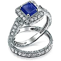 Princess Cut Square Blue CZ Engagement Ring Pave Band Set Simulated Sapphire Cubic Zirconia 925 Sterling Silver