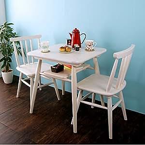 パインダイニング3点セット テーブル+チェア2脚/ホワイト