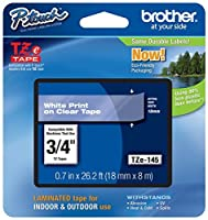 Genuine Brother 3/4 (18mm) White on Clear TZe P-touch Tape for Brother PT-1880 PT1880 Label Maker [並行輸入品]