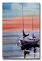 Metal Wall Sculpture Abstract Sailboat Art Decor Sailing [並行輸入品]