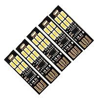 5枚セット USB LEDライト タッチスイッチ式無段階調光 両面USB接続 6LEDライト 昼白色 超小型&超極薄