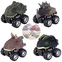 erlsig恐竜Cars Pull Back Vehicles 4パック動物車Toy Truck with Bigホイールタイヤデザインの男の子と女の子、子供ギフト