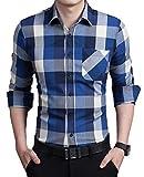 (ユニグランド)Unigrand チェックシャツ ウェスタンシャツ ネルシャツ メンズ 長袖 (ブルー XLサイズ)