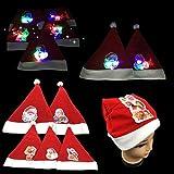 クリスマスパーティーサンタの帽子 ライトアップ付き X-Mas LEDデカール ノベルティ 記念品 バルクギフト (12個パック)