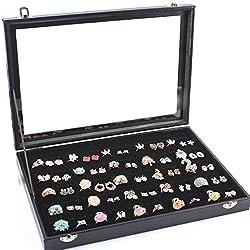 Yihiro リングケース 指輪 ベロア調 ピアスケース 100個 収納可 ディスプレイ 展示用 ジュエリーボックス