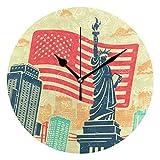 VAWA 掛け時計 置き時計 おしゃれ 北欧 時計 壁掛け 連続秒針 リビング 部屋装飾 贈り物 自由の女神像 欧米風 アニメ