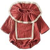 lijietian ベビー ロンパース 女の子 長袖 新生児服 かわいい ハスの襟 レース カバーオール 赤ちゃん服 綿 おしゃれ 春秋 2色 (茜色, 90(18-24ヶ月))66(3-6ヶ月)|茜色