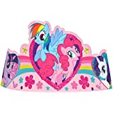 (Pink) - Charming My Little Pony Friendship Paper Tiara Birthday Party Wearable Favours (8 Pack), Pink, 18cm .