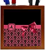 Rikki Knight Letter A Red Monogram Damask Bow Design 5-Inch Tile Wooden Tile Pen Holder (RK-PH41792) [並行輸入品]