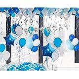 誕生日 飾り付け amazon お誕生日飾り付け セット 女の子 男の子 赤ちゃん 誕生日パーティー飾り物セット 特大 バースデー アルミ バルーン 装飾セット 風船*100 ポンプ 両面テープ リボン付き バースデー デコレーションセット ブルー 可愛い HAPPY BIRTHDAY (ブルー)