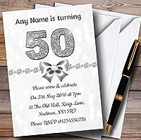 ホワイトBokeh &シルバーグリッターLook 50th Personalized誕生日パーティー招待状 20 Invitations