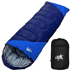 丸洗いのできる寝袋 封筒型 最低使用温度 -15℃ コンパクト収納袋付き シュラフ 寝袋 オールシーズン (ネイビー)