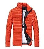 del leone ジャンバー メンズ 中綿 軽量 ダウン 風 ジャケット 防寒 ジャンパー 大きいサイズ も対応 (XL, オレンジ)