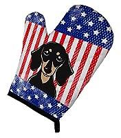 Carolines Treasures BB2145OVMT American Flag & Smooth Black and Tan Dachshund Oven Mitt