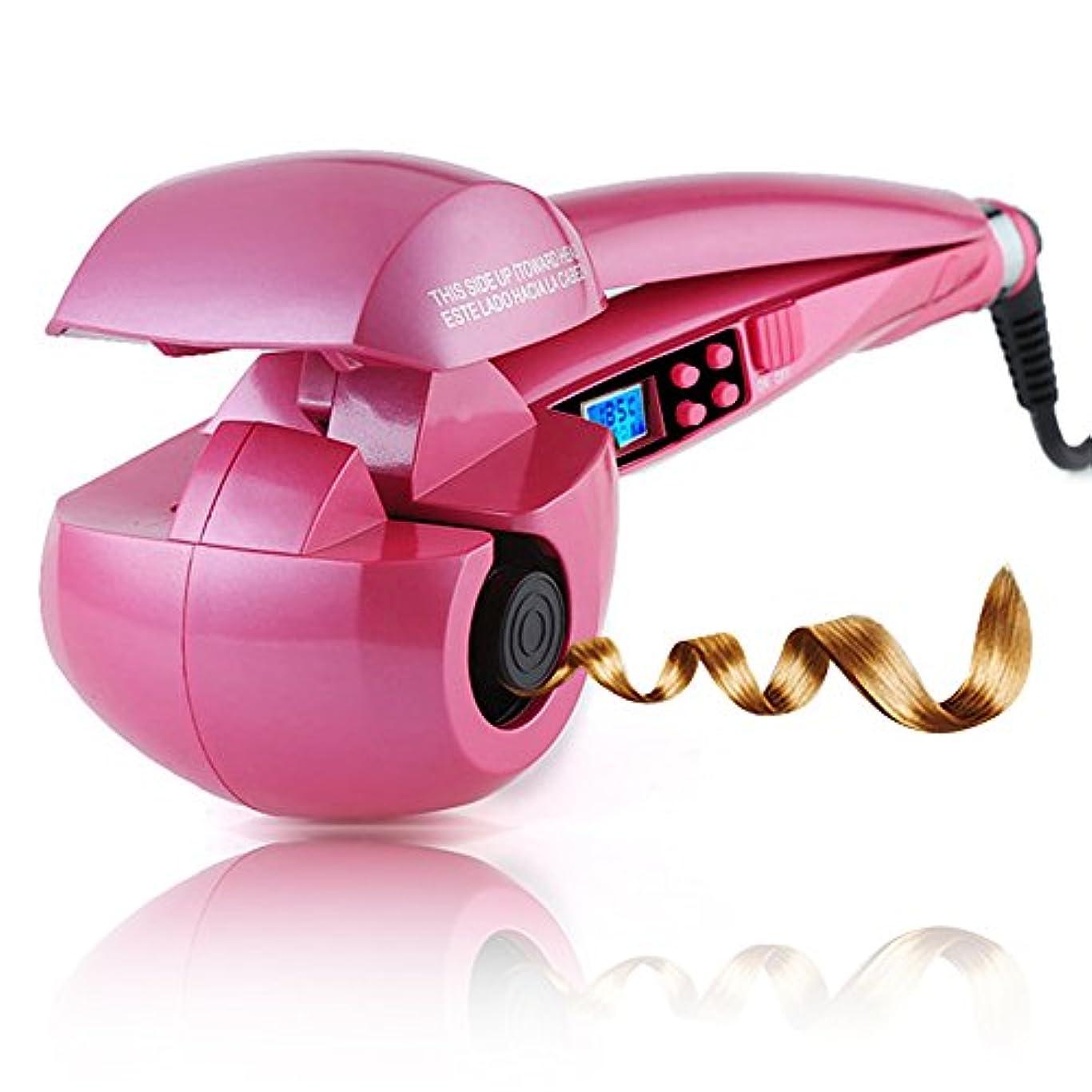 MEIKOU オートカール ヘアアイロン 8秒自動巻き ミラカール 日本語取扱説明書付き (ピンク)