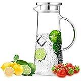 SODIAL 1.5L Glass jug, Stainless Steel lid Curling, Borosilicate Glass jug Wine, Juice, Milk, Cold Water, hot Coffee, etc.