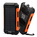 LEVIN 10000mAh モバイルバッテリー 防災用ソーラーチャージャー 羅針盤搭載 二つの高輝度LEDライト付き 生活防水 (オレンジ)