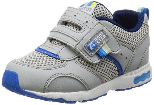 [キャロット] 運動靴 通学履き 靴 4大機能 マジック 幅広 3E キッズ CR C2146 グレー 16.5 cm