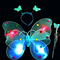 (Blue) - Dreamen 3pcs/Set Girls Led Flashing Light Fairy Butterfly Wing Wand Headband Costume Fairy Princess Role Play Toy (blue)
