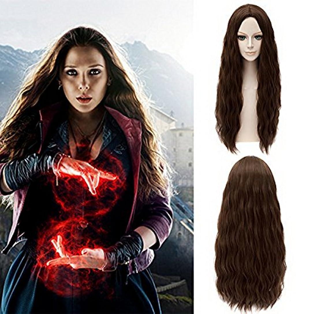 件名バレーボール致命的Xcoser Avengers Scarlet Witch Wanda Maximoff Cosplay Wig Brown Wavy Hair