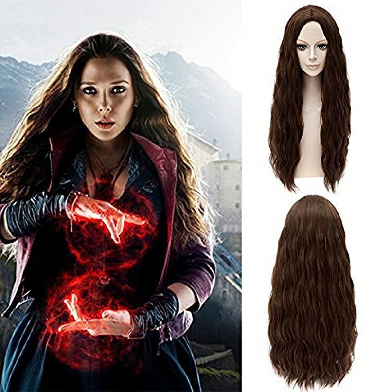 意志姉妹パースXcoser Avengers Scarlet Witch Wanda Maximoff Cosplay Wig Brown Wavy Hair