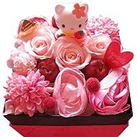 キティ フラワーギフト♪ キティ ストラップ 箱開けてスマイル♪ ボックス入りプリザーブドフラワー キティ ピンク系 プレゼント対応可 hello kitty 誕生日プレゼント・記念日の贈り物におすすめのフラワーギフト