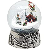 20059【Minium Collection】銀ベースとアイススケーター Snowglobe Mega ミュージカルスノーグローブ 【直径】15cm