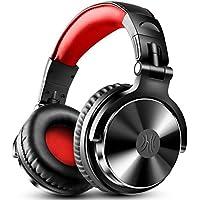 DJヘッドホン モニターヘッドホン オーバーイヤー スタジオレコーディング/楽器練習/ミキシング/TV視聴/映画鑑賞などに対応(ブラックレッド)