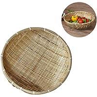 Cheng-store ナチュラルハンドメイド竹製のバスケットバスケット 果物や野菜トレイ 排水バスケット スナック収納バスケット