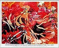 ポスター ジェームズ ローゼンクイスト Pearls Before Swine Flowers before Flames 1990年 限定1000枚 額装品 アルミ製ベーシックフレーム(ライトブロンズ)