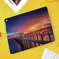 iPad Air 10.5 ケース/iPad Pro 10.5 ケース 薄型 オートスリープ機能 三つ折りスタンド日の出地平線キャンドルライトロマンチックな装飾イメージ印刷装飾で港の木の橋