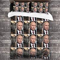 Cat Looks Like Putin プーチン 掛け布団カバー+枕カバー シングル ダブル ベッド用カバー 掛け布団 3点セット 防ダニ 優しい肌触り 洗い替え 3-Piece Bedding Set
