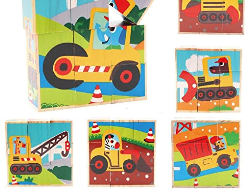 HuaQingPiJu-JP 創造的なデザイン木製の漫画のパズルアーリーラーニング番号の形の色の動物のおもちゃキッズ(トラック)のための素晴らしいギフト