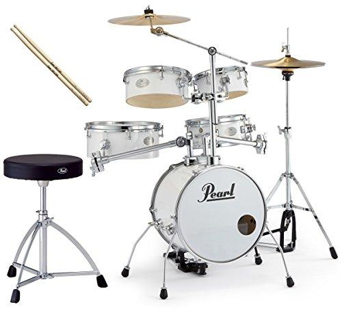 Pearl 소형 드럼 세트 RT-645N/C 33-퓨어 화이트 리듬 traveler ver.3S 순정 드럼 의자와 스틱 세트-