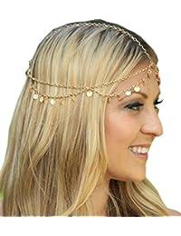(ビグッド)Bigood レディース ヘッドチェーン ヘアバンド チェーン 髪飾り ヘアアクセサリー ブライダル パーティー 飾り(色:ゴールド)