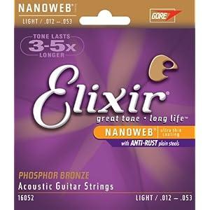 Elixir エリクサー アコースティックギター弦 NANOWEB フォスファーブロンズ Light .012-.053 #16052 【国内正規品】
