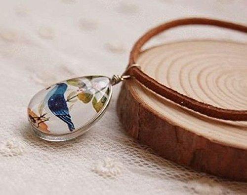 幸せを運ぶ かわいい 青い鳥 ティアドロップ型 ガラス玉 ネックレス