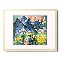 エルンスト・ルートヴィッヒ・キルヒナー Ernst Ludwig Kirchner 「Alpine Living (Alpleben), Central panel of a triptych. 1918」 額装アート作品