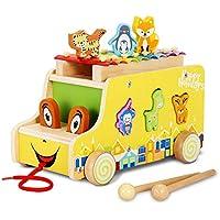Bemixc 木のおもちゃ 3WAYごっこ遊び 人気 アニマルビーズバス 鉄琴 楽器 おままごと 木製動物パズル 知育玩具 赤ちゃんおもちゃ 女の子 男の子 出産祝い誕生日プレゼント節句祝い
