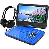 ポータブルDVDプレーヤー 10.1型 高画質液晶 DVDプレイヤー リージョンフリー 大容量 4時間持続 超軽量で持ち運びやすい 動作音も静か (ブルー)