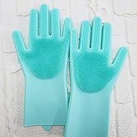 食器洗い手袋マジックシリコーン手袋絶縁摩耗多機能振動セクションロングヘアブラシクリーニング手袋,Green