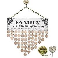 MY BIBY家族友達の誕生日カレンダー木製の誕生日カレンダー壁掛け誕生日のお知らせお祝いボード家族の誕生日プラークDIYの家の装飾 (family)