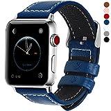 全7色 Apple Watch バンド ベルト, アップルウォッチバンド38mm 42mm Fullmosa apple watch series1 2 3 バンド 本革レザー 交換バンド ラグ付き ダークブルー 42mm