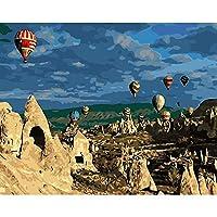フレームレス熱気球写真絵画by数字diyデジタルトルコスタイル壁油キャンバスアートぬりえ数字でアートワークギフト40 * 50センチ