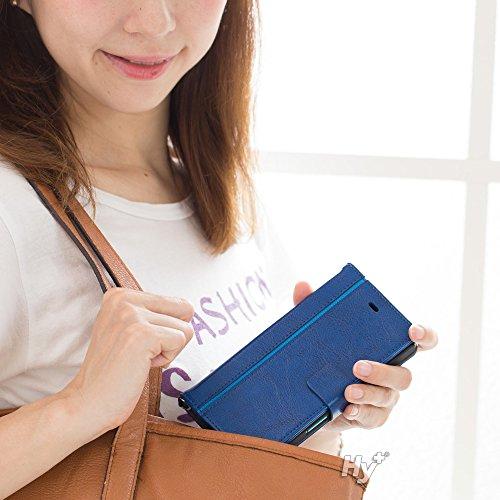 Hy+ ARROWS NX(アローズNX) F-04G 本革レザー ケース 手帳型 (ネックストラップ、カードポケット、スタンド機能、液晶保護フィルム付き) ブルー