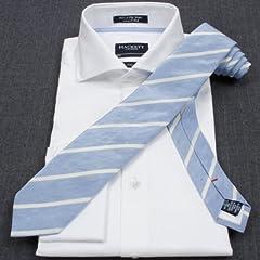 Hackett Linen Silk Stripe Tie: Skyblue