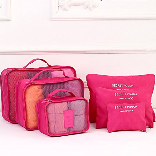 【福美康】 トラベル ポーチ 6点 セット パッキング キューブ オーガナイザー 旅行 出張 整理整頓 アレンジケース スーツケース インナー バッグ パック (サーモンピンク)