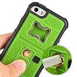 ZVE iPhone5S ケース アイフォン5 ケース ライター 栓抜き カメラ三脚機能を付くケース 4インチ 耐衝撃 耐震 防塵 ケース 衝撃吸収(グリーン iphone5S/SE/5C)